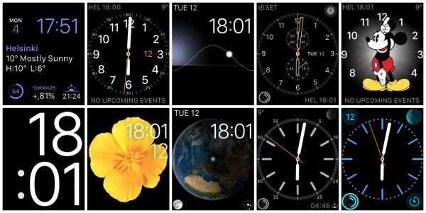 Eri kellotauluvaihtoehdot Apple Watchissa
