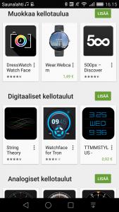 Android Wearin kellotauluvalikoimaa Google Playsta