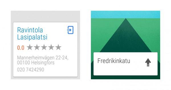 """Ensimmäisessä kuvassa puhutun Google-haun """"ravintola lasipalatsi"""" tulos. Toisessa esillä ovat jo reittiohjeet. Navigoinnin saa käynnistettyä suoraan kätevästi hakutuloksesta."""