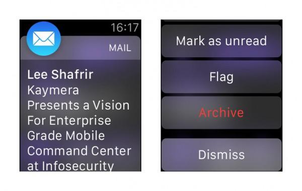 Sähköpostin arkistointi Apple Watchissa