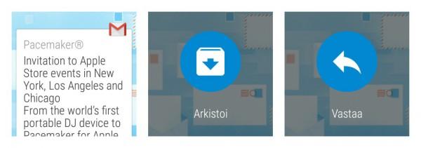 Sähköpostin arkistointi Android Wearissa