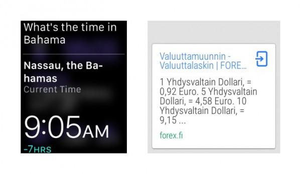 Maailman eri kellonajat löytyvät hyvin Watchilla, kuin myös valuuttakurssit. Valuuttakurssien osalta myös Android Wear pärjää kohtuullisesti.