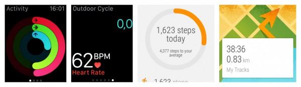 Vasemmalla Apple Watchin Aktiivisuus- ja Harjoittelu-sovellukset. Oikealla Google Fit ja Omat reitit.