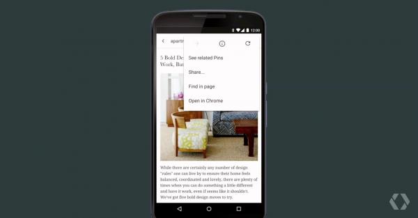 Esimerkiksi Pinterest voi käyttää Chromen välilehteä ilman, että käyttäjän tarvitsisi seilata sovellusten välillä.