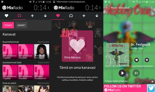 Kuvakaappauksia MixRadion Android-versiosta