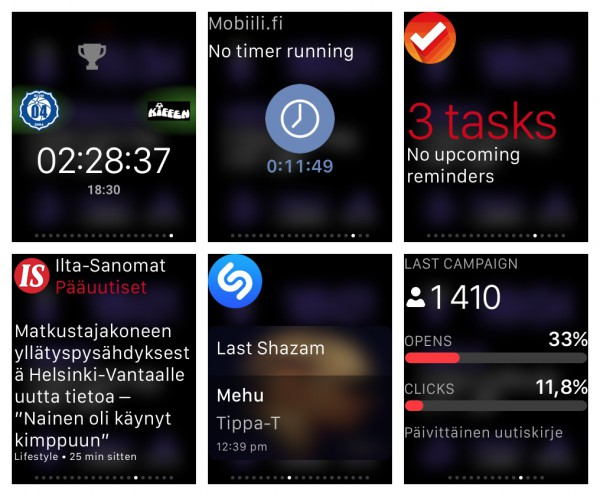 Apple Watch -sovellusvilkaisuja