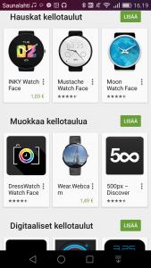 Lisää kellotauluja saa Google Playn kautta