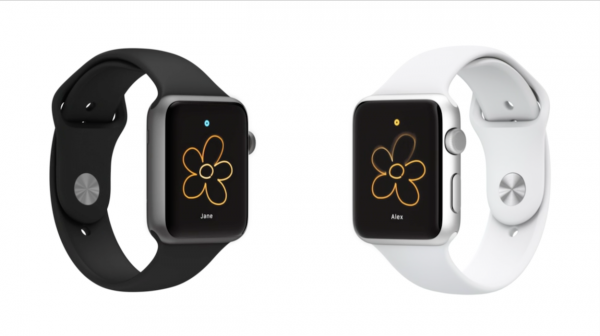 Apple Watchista toiseen lähetetty piirretty kuva