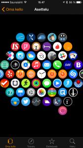 Sovelluskuvakkeiden järjestystä voi säätää myös iPhonen Apple Watch -sovelluksesta itse kellon lisäksi