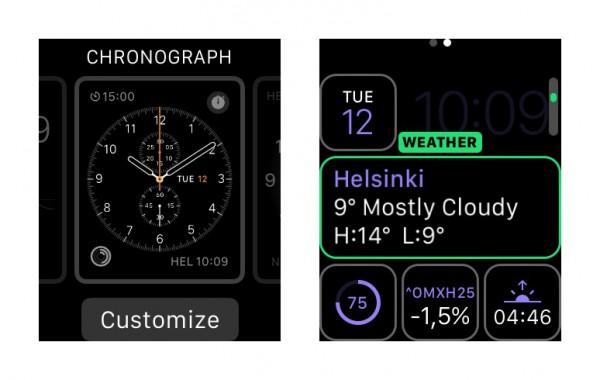 Kellotaulua pääsee vaihtamaan selaamalla tallennetuista vaihtoehdoista. Tässä Modular-kellotaulu muokkauksessa - eri tietoja saa valita kattavasti.
