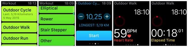 Workout-sovelluksen vaihtoehtoja. Harjoitteen aikana voi seurata sykettä, aikaa sekä muun muassa edettyä matkaa.