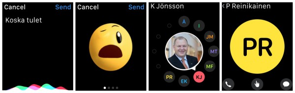 Puheentunnistus toimii hyvin + emojit ovat muokattavia + sivupainikkesta aukeava kaverinäkymä + jos kaverilla on Apple Watch, tulee näkyviin alariviin keskelle Digital Touch -vaihtoehto puhelun ja normaalin viestin ohella