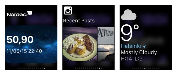Vilkaisut: Nordea ja tilin saldo, Instagram ja Sää