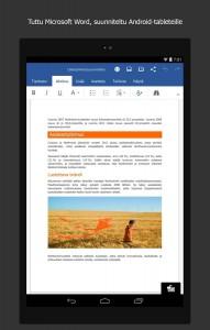Tältä näyttää Microsoftin Word Android-laitteella.