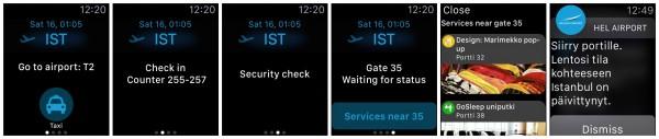 Helsinki Airport Watchille tarjoaa tiedot omaksi lennoksi merkitystä lähdöstä sekä lähtöportin palveluista. Viimeisenä oikealla muistutus.