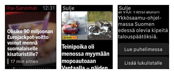 Ilta-Sanomien Watch-sovelluksessa uutisotsikot, kuvat ja lyhyet alustukset.