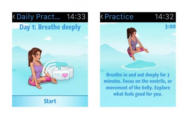 Mindful Watch tarjoaa yksinkertaisesti hengitysharjoitteita.