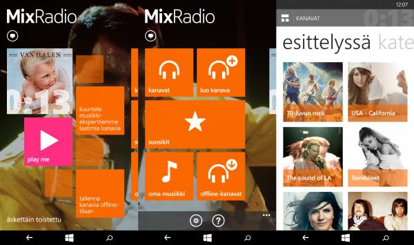 Kuvakaappauksia MixRadion Windows Phone -versiosta