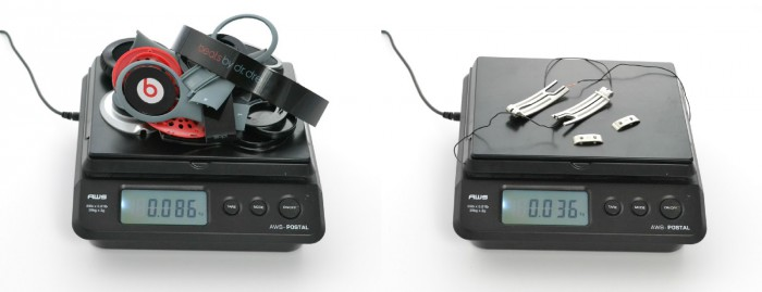 Beatsin kuulokkeista löytyy neljä metalliosaa, joiden ainoa tarkoitus on tuoda lisää painoa.