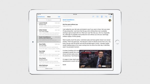 iOS 9:ssä moniajo mahdollistaa vaikkapa videokuvan tuomisen toisesta sovelluksesta sähköpostisovelluksen oheen.