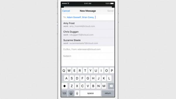 Jos tapana on usein lähettää samoille ryhmille sähköposteja, iOS 9:n Mail-sovellus osaa tarjota vastaanottajia automaattisesti.