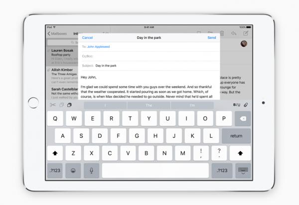 iOS 9:n näppäimistö iPadille tuo erilaisia pikavalintoja kätevästi näppäimistön yläosaan.