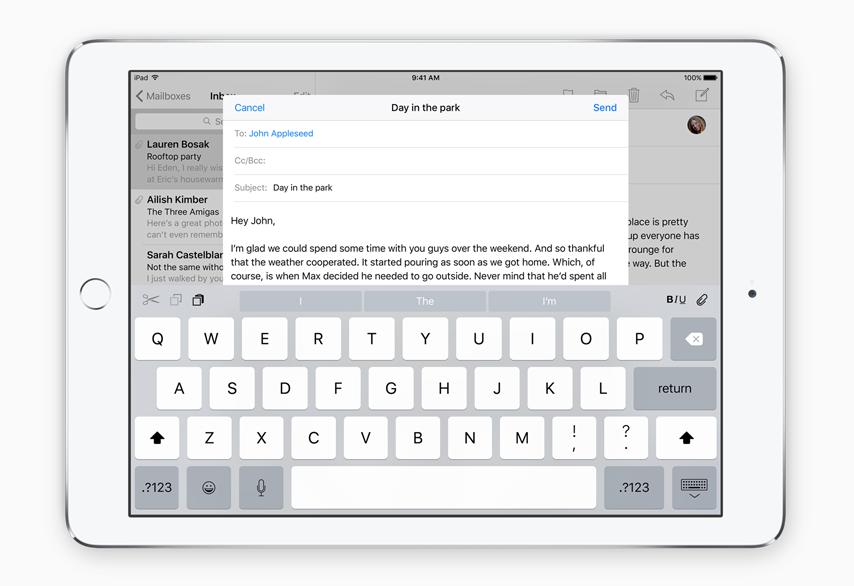 Voit kytkeä hiiren ja näppäimistön iPad