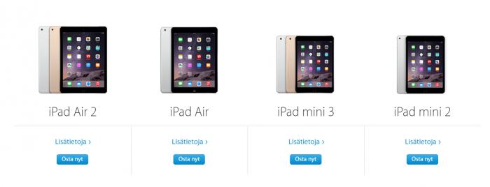 Applen iPad miniä ei enää löydy yhtiön verkkokaupan valikoimista.