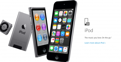 iPoditkin vielä mainitaan Applen Music-sivuilla, mutta hyvin ne on piilotettu sivun alalaitaan