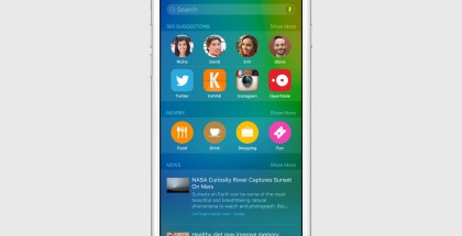 Haku tarjoaa iOS 9:ssä tuloksia esimerkiksi sijainnin ja hiljattain käytettyjen sovellustenkin perusteella. Lisäksi ehdotuksia ihmisistä, sovelluksista, paikoista ja uutisista