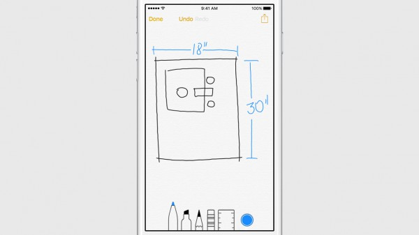 Muistiinpanoihin voi jatkossa iOS 9:n myötä piirtää tai liittää kuvia sekä lisätä tehtävälistoja