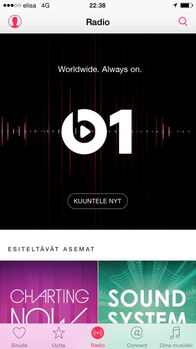 Beats 1 -radiokanava tuottaa ohjelmaa 24/7.