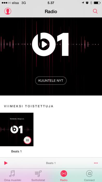 iOS:n Musiikki-sovelluksessa tilitietoihin pääsee käsiksi vasemman yläkulman kuvakkeen kautta.