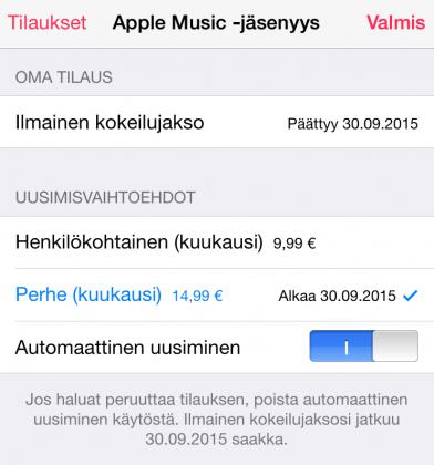 Apple Music -tilauksen voi jo nyt asettaa päättymään maksuttoman tutustumisjakson jälkeen.