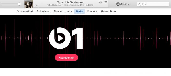 iTunesissa tilitietoihin pääsee ylhäältä, hakupalkin vasemmalta puolelta löytyvän käyttäjäkuvakkeen kautta.
