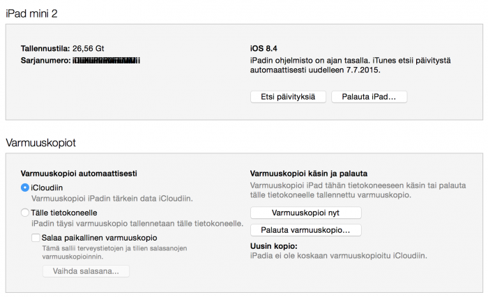 iPadin palauttaminen iTunesin avulla alkaa klikkaamalla Palauta iPad.