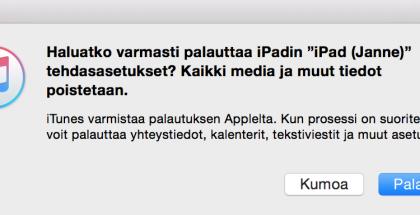 iOS palauttaminen