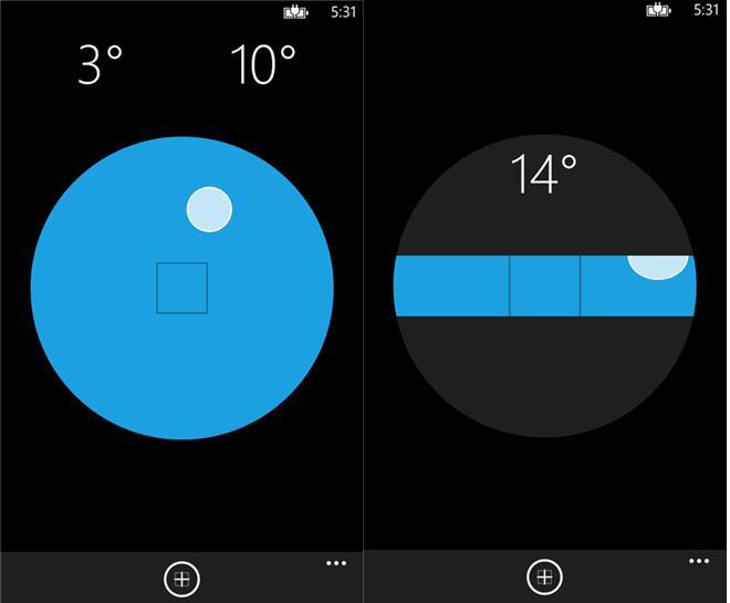 Kuvakaappauksia Windows Phonen Level-sovelluksesta