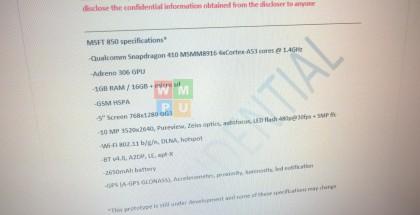 Lumia 850:n vuotaneet tiedot.