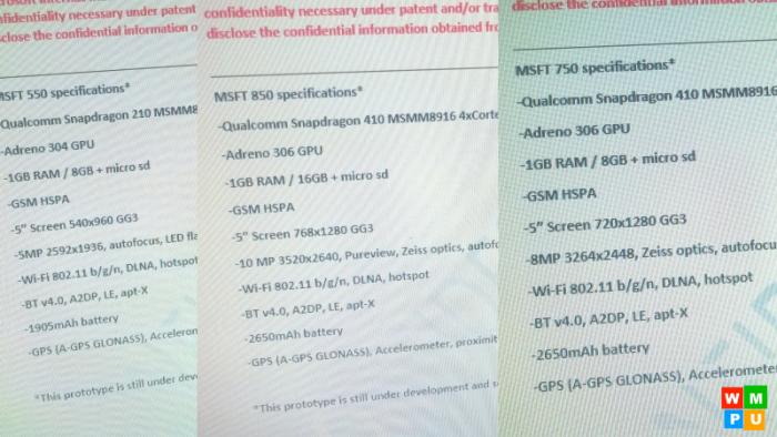 Lumia 850 750 550