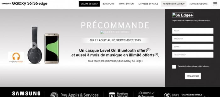 Kuvakaappaus Samsungin ranskalaisilta verkkosivuilta