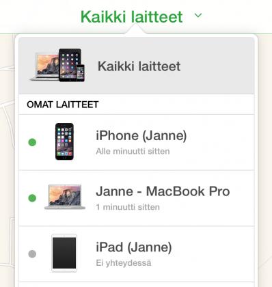iCloud.com näyttää kaikkien samalle Apple ID -tunnukselle rekisteröityjen laitteiden sijainnin.