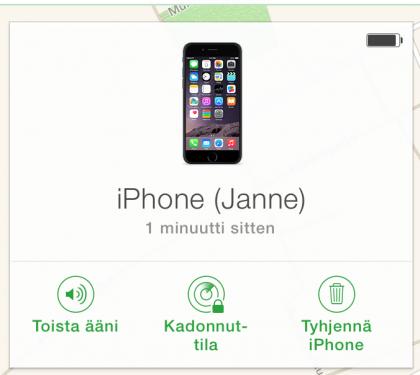 Kadonneen tai varastetun iPhonen löytymistä voi helpottaa äänimerkillä tai lukitusnäytöllä näkyvällä viestillä. Arkaluontoista tietoa sisältävän laitteen voi tyhjentää etänä.