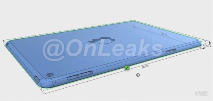 iPad mini 4:n CAD-mallinnus @OnLeaksin vuotamana.