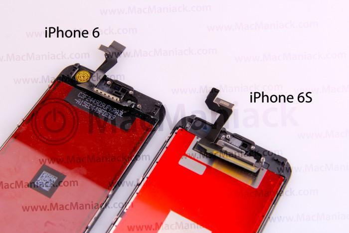 iPhone 6:n ja 6S:n näyttöpaneelit vertailussa.