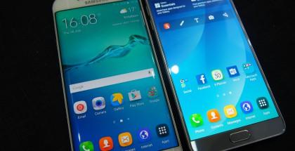 Vasemmalla Galaxy S6 edge+, oikealla Galaxy Note 5