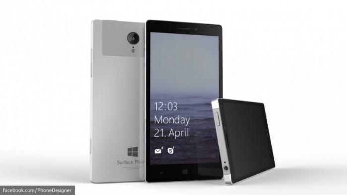 PhoneDesignerin näkemys Surface Phonesta - ei oikea laite.