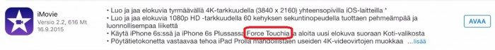 iMovien muutoslokissa käytetään 3D Touchille Force Touch -nimeä