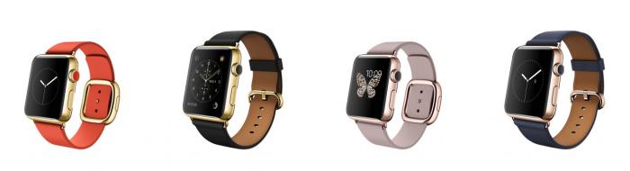 Apple Watch Editionit modernilla rannekkeella (pienemmät kellot) ja klassisella rannekkeella