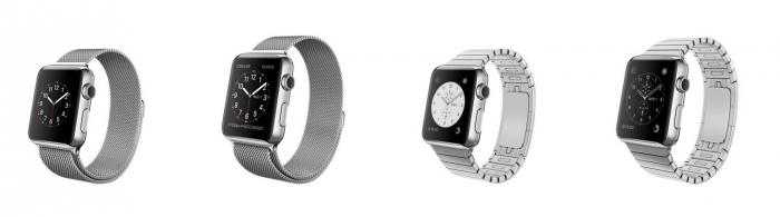 Apple Watch milanolaisrannekkeella ja linkkurannekkeella
